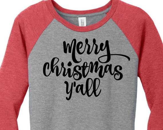 Merry Christmas Y'all, Southern, Womens Baseball Raglan Top in 6 colors, Sizes Small-4X, Plus Size, Plus Size Clothing, Plus Size Christmas