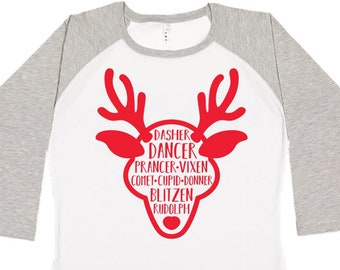 Family Reindeer Shirts, Christmas Shirt, Matching Christmas Shirt, Plus Size Christmas Shirt, Family Christmas, Reindeer Names Shirt