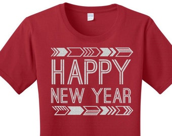 Glitter Happy New Year, New Years Eve, Women's T-shirt in 7 Different Colors in Sizes Small-4X, Plus Size