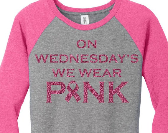 On Wednesdays We Wear Pink, Pink Glitter Breast Cancer Ribbon Baseball Raglan 2 Tone 3/4 Sleeve Womens Tops in Sizes Small-4X, Plus Size
