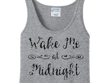 Glitter  Wake Me at Midnight, Happy New Year, New Years Eve, Women's Tank Top in 6 Colors in Sizes Small-4X, Plus Size