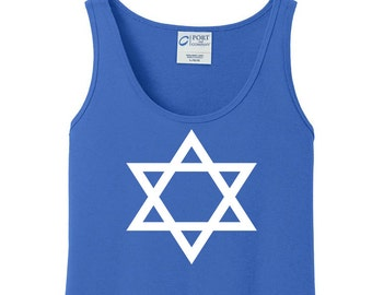 Star of David, Hanukkah, Chanukah, Jewish Holiday, Festival of Lights, Women's Tank Top in 6 Colors, Sizes Small-4X, Plus Size