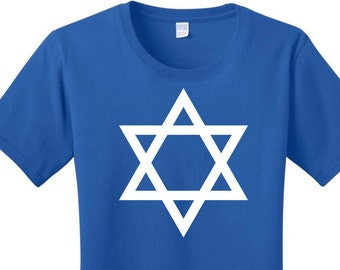 Star of David, Hanukkah, Chanukah, Jewish Holiday, Festival of Lights, Women's T-shirts in 7 Colors in Sizes Small-4X, Plus Size
