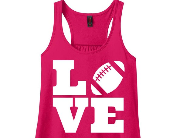 Love Football, I Love Football, Sports, Football, Women's Racerback Tank Top in 9 Colors in Sizes Small-4X, Plus Size