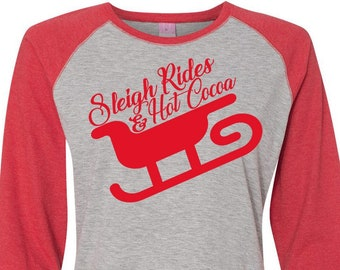 Sleigh Rides And Hot Cocoa, Christmas Shirts, Matching Christmas Shirts, Plus Size Christmas Shirt, Family Christmas Shirts, Plus Size Shirt