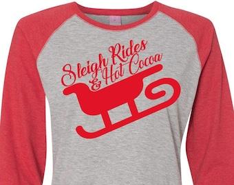 Sleigh Rides And Hot Cocoa, Christmas Shirts, Matching Christmas Shirts, Plus Size Christmas Shirt, Family Christmas Shirts, Plus Size Shirt