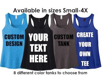 Custom Tank, Personalized Tank Top, Custom Racerback, Women's Racerback Tank Top, Plus Size Clothing, Plus Size Tank, Plus Size Racerback
