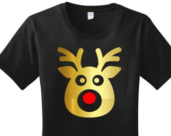 Gold Metallic Rudolph the Red Nose Reindeer, Christmas, Women's T-shirts in 7 Colors in Sizes Small-4X, Plus Size, Plus Size Clothing
