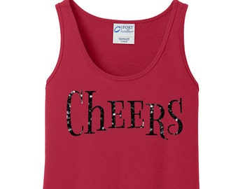 Glitter Cheers, Happy New Year, New Years Eve, Women's Tank Top in 6 Colors in Sizes Small-4X, Plus Size