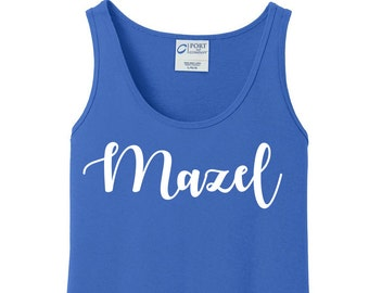 Mazel, Mazel Tov, Hanukkah, Chanukah, Jewish Holiday, Festival of Lights, Women's Tank Top in 6 Colors, Sizes Small-4X, Plus Size