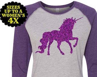 Unicorn Women's Baseball Raglan Shirt, Plus Size Clothing, Plus Size T Shirt, Unicorn Shirt, Plus Size Unicorn, Unicorn Mommy and Me Shirts
