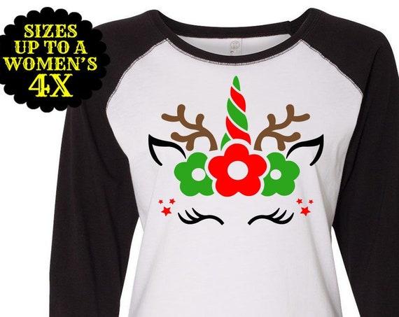 Unicorn Reindeer Shirt, Family Christmas Shirts, Plus Size Christmas Shirt, Kids Christmas Shirt, Toddler Reindeer Shirt, Girls Reindeer Tee
