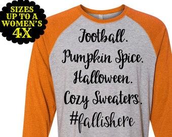 Football Pumpkin Spice Halloween Cozy Sweaters #fallishere, Fall Baseball Raglan Tee, Halloween Shirt, Plus Size Baseball Raglan, Fall Shirt