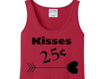 Kisses 25 Cents, Heart Arrow, Valentines Day, Women's Tank Top in 6 colors in Sizes Small-4X, Plus Size