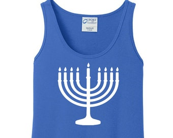 Menorah, Hanukkah, Chanukah, Jewish Holiday, Festival of Lights, Women's Tank Top in 6 Colors, Sizes Small-4X, Plus Size