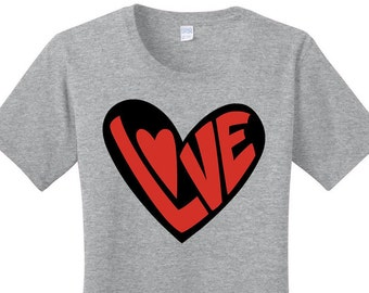 2 Tone Love Heart, Valentines Day, Women's Graphic T-shirt in 7 Different Colors in Sizes Small-4X, Plus Size