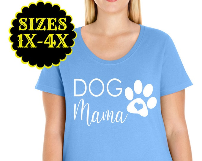 Featured listing image: Dog Mama Shirt, Plus Size Scoop Neck T-shirt, Plus Size Clothing, Plus Size Tops, Curvy Tee, Plus Size Tshirt, Dog Mom Shirt, Dog Lover