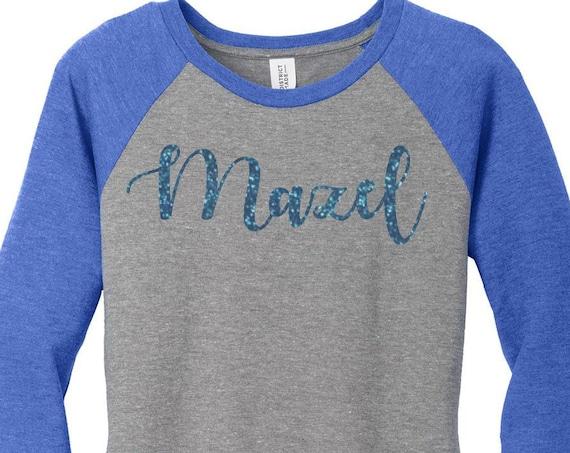 Mazel Blue Glitter, Mazel Tov, Hanukkah, Chanukah, Jewish Holiday, Womens Baseball Raglan Top Shirt in 5 colors, Sizes Small-4X, Plus Size