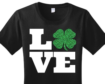 Love 4 Leaf Clover, Shamrock, St Patricks Day, Women's T-Shirt in 7 Different Colors in Sizes Small-4X, Plus Size