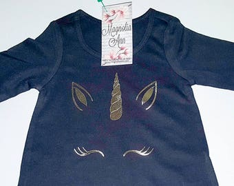 Unicorn Eyelashes Black Ruffled 3/4 Sleeve High Low Top, Baby, Infant, Toddler, Baby Unicorn Shirt, Baby Unicorn Outfit, Toddler Unicorn Tee
