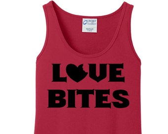 Love Bites, Heart,  Valentines Day, Women's Tank Top in 6 colors in Sizes Small-4X, Plus Size