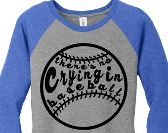 There's No Crying in Baseball, Sports, Baseball Raglan 2 Tone 3/4 Sleeve Womens Tops Shirts in Sizes Small-4X, Plus Size