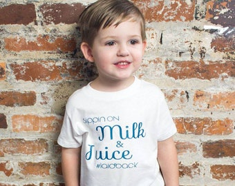 Sippin On Milk & Juice #laidback, Toddler Tee, Trendy Kid's Tee, Boy Clothes, Girl Clothes, Toddler Tee, Kids Shirt, Children's Clothing