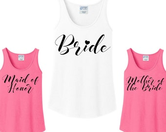 Bridal Party Heart, Bride, Bridesmaid, Maid of Honor, Mother of the Bride, Wedding Women's Tank Top in 6 colors in sizes Small-4X, Plus Size