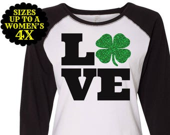 Love St Patrick's Day Raglan T shirt, Sizes Small-4X, St Patrick's Day Shirt, St Patrick's Day Tee, Plus Size Clothing, Love Shamock