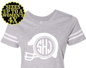 Football Monogram Shirt- Womens Football Shirt- Football Jersey- Tailgate Shirt- Football Tee- Plus Size Clothing- Plus Size Football
