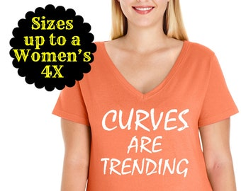 Curves Are Trending V-Neck Tee, Plus Size Clothing, Plus Size Shirt, Curvy Shirt, Plus Size Tops, Curvy Girl, Curvy Shirt, Plus Size Tops