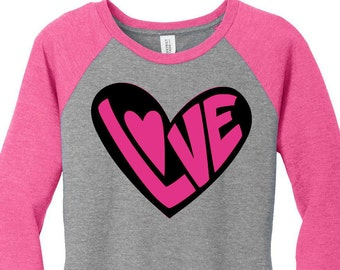 2 Tone Love Heart, Valentines Day, Womens Baseball Raglan 2 Tone 3/4 Sleeve Tops in Sizes Small-4X, Plus Size