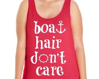 Boat Hair Don't Care, Summer, Women's Premium Jersey Tank Top in Sizes Small-4X, Plus Sizes, Curvy, Lots of Colors