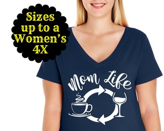 Mom Life Coffee Wine Repeat Women's V-Neck Shirt, Mom Shirt, Mom Life Shirt, Mom T-shirt, Mama Shirt, Plus Size Mom Shirt, Mom Wine Shirt