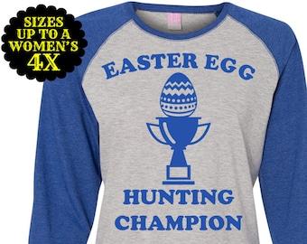 Easter Egg Hunting Champion Women's Baseball Raglan, Easter Tee, Easter Raglan, Plus Size Easter Shirt, Easter Tee, Women's Easter Shirt