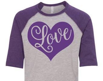Love Heart Toddler Baseball Raglan T-shirt, Valentines Day Shirt, Kids Valentines Day Shirt, Toddler Valentines Shirt, Toddler Tee