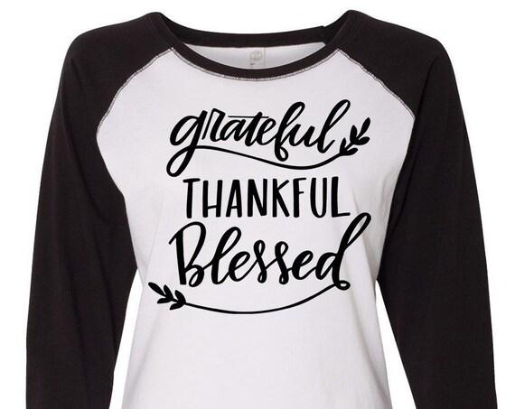 Grateful Thankful Blessed, Thanksgiving Shirt, Plus Size Fall Shirt, Matching Thanksgiving Shirt, Family Thanksgiving Shirt, Plus Size Shirt
