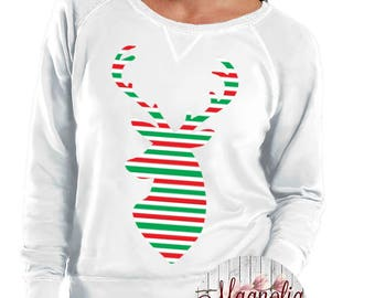 Print Deer Head Slouchy French Terry Pullover Sweatshirt, Small-4X, Plus Size Clothing, Christmas Shirt, Christmas Sweater, Deer Shirt