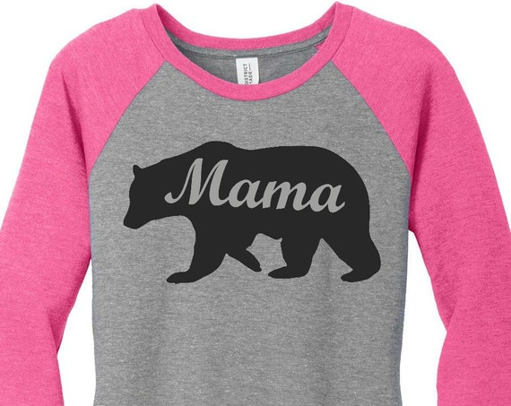 Mama Bear Women's Raglan 2 Tone 3/4 Sleeve Tops in 6 Colors in Sizes Small-4X, Plus Size