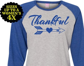 Thankful Shirt, Thanksgiving Shirt, Plus Size Baseball Raglan, Plus Size Shirt, Plus Size Thanksgiving, Plus Size Fall Shirt, Fall Shirt