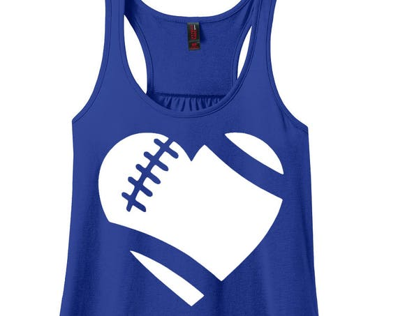 Heart Football, Love Football, Sports, Football, Women's Racerback Tank Top in 9 Colors in Sizes Small-4X, Plus Size