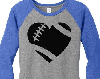 Heart Football Womens Baseball Raglan 3/4 Sleeve Top in 5 colors, Sizes Small-4X, Plus Size
