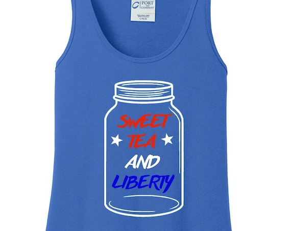 Sweet Tea & Liberty, United States, America, Patriotic, 4th of July, Women's Cotton Tank Top in 6 Colors in Sizes Small-4X, Plus Size