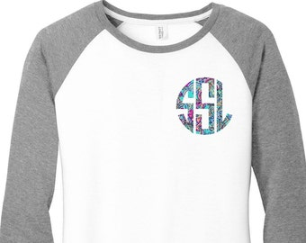 Custom Monogram Print Women's Raglan 2 Tone Color 3/4 Sleeve Baseball Shirts in sizes Small-4X, Plus Sizes, Lilly Pulitzer Inspired