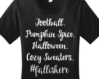 Football Pumpkin Spice Halloween Cozy Sweaters #fallishere Women's Graphic T-shirt in 7 Different Colors in Sizes Small-4X, Plus Size