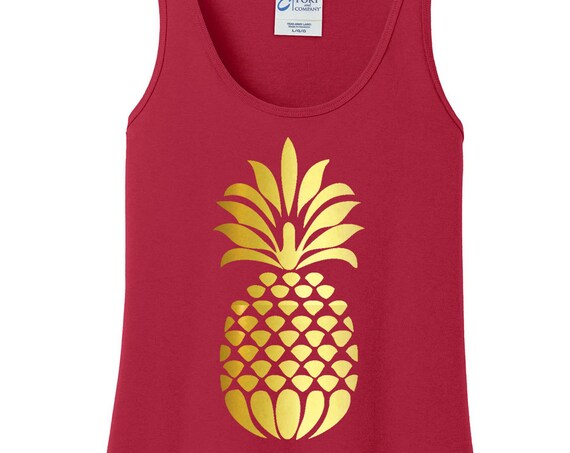 Gold Metallic Pineapple Women's Tank Top in 6 Colors, Sizes Small-4X, Plus Size