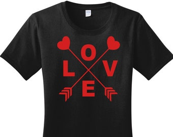 Love Heart Arrow, Valentines Day, Women's Graphic T-shirt in 7 Different Colors in Sizes Small-4X, Plus Size