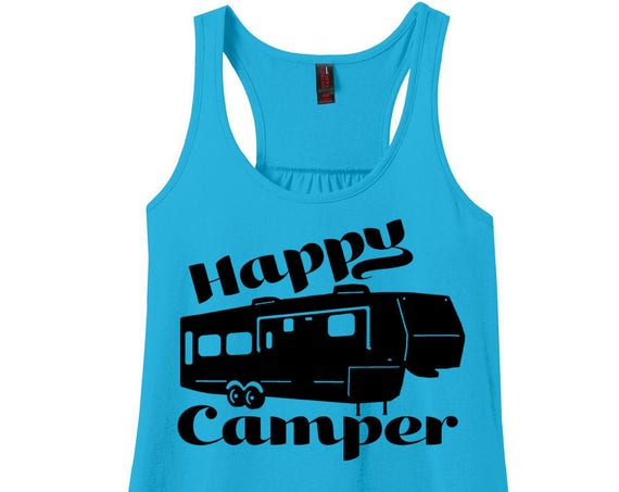 Happy Camper, RV, Camping, Women's Racerback Tank Top in 9 Colors in Sizes Small-4X, Plus Size