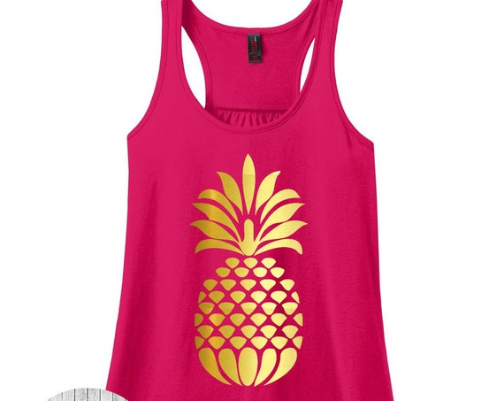 Pineapple Women's Racerback Tank Top in 9 Colors in Sizes Small-4X, Plus Size