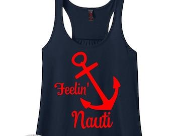Feeling Nauti, Anchor Tank, Beach Shirt, Cruise Shirt, Vacation Shirt, Summer Shirt, Boat Shirt, Plus Size Clothing, Plus Size Tank Top